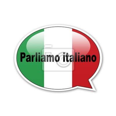 Pegatina Globus sprechen Italienisch