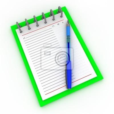 Pen auf einem Notebook auf einem weißen Hintergrund