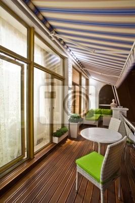 Bild Penthouse Wohnung Balkon mit Holzterrasse