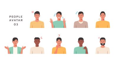 Bild People portraits of young men with negative emotion, male faces avatars isolated icons set, vector design flat style illustration