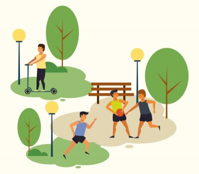 People training sports at park