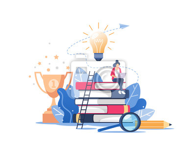 Bild Person gains knowledge for success and better ideas. Online education or business training concept, distance courses, study guides, exam preparation, home schooling. Vector illustration.