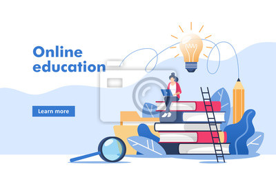 Bild Person gains knowledge for success and better ideas. Online education or business training. Vector illustration for mobile and web graphics.
