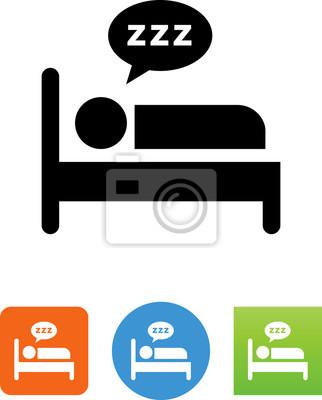 Person Schlafen Im Bett Icon Illustration Leinwandbilder Bilder