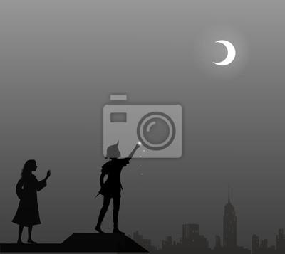 Peter Pan Und Wendy Auf Dem Dach Paar Leinwandbilder Bilder