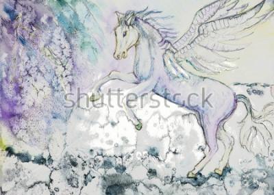 Bild Pferd mit Flügeln bei stürmischem Wetter. Die Tupfer-Technik in der Nähe der Kanten bewirkt einen weichen Fokus aufgrund der veränderten Oberflächenrauheit des Papiers.