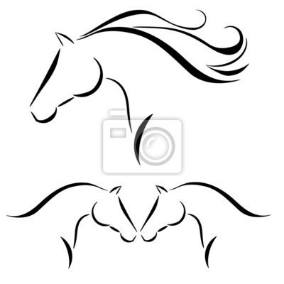 pferdekopf mit fliegender m u00e4hne vektor leinwandbilder clipart horse head clipart horse head silhouette