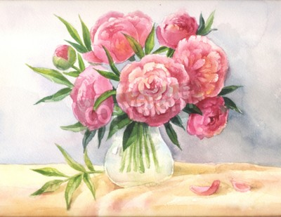 pfingstrosen in einem vase aquarell skizze der rosa blumen leinwandbilder bilder. Black Bedroom Furniture Sets. Home Design Ideas