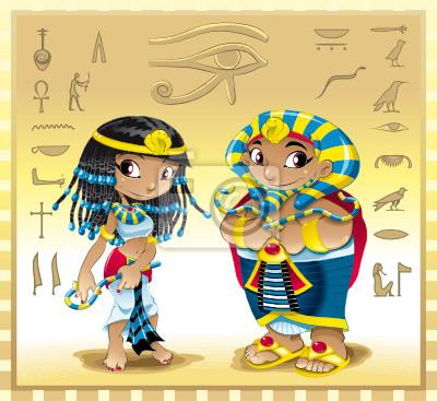Pharao und Cleopatra mit Hintergrund
