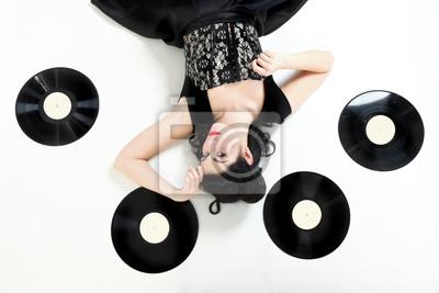 phonography analogen Platten Pin-up-Mädchen, retro