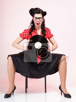 phonography analogen Schallplatte Mädchen pin-up retro
