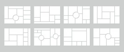 Bild Photo collage grid. Vector. Mood board template. Set of blank moodboard. Mosaic frame banner. Pictures on gray background. Photography album layout. Horizontal design of mockup. Simple illustration.