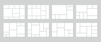 Bild Photo collage template. Vector. Mood board. Set of picture grids. Blank moodboard background. Mosaic frame banner. Photography album layout. Horizontal design of mockup. Simple illustration.