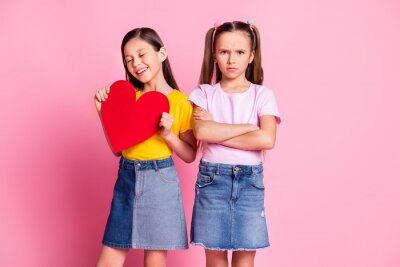 Bild Photo of nice optimistic blond brown hair girls hold heart wear t-shirt isolated on pink background