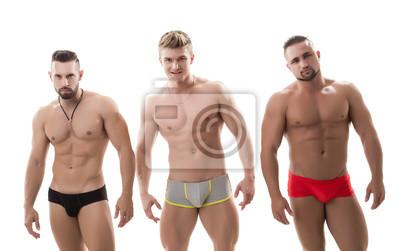 Bild Photo of three sexy macho with bare torsos