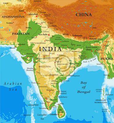 China Karte Physisch.Bild Physische Karte Von Indien