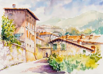 Bild Picturesque Vesio village above Lago di Garda, Lombardy region of Italy. Picture created  with watercolors.