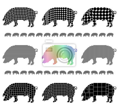 Pig silhouette mosaic set