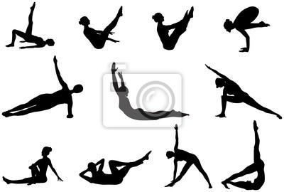 Pilates Silhouetten der Ausarbeitung und Stretching auf dem weißen b