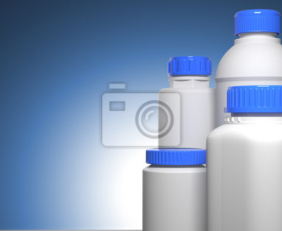 Pille-Flaschen auf blauem Hintergrund.