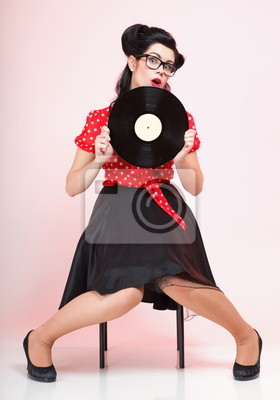 Pin-up-Girl Retro-Stil Frau analogen Schallplatte