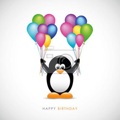 Pinguin Mit Luftballons Alles Gute Zum Geburtstag Leinwandbilder