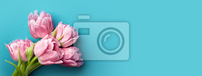 Bild Pink tulips on turquoise background with copy space. Top view, banner for website.