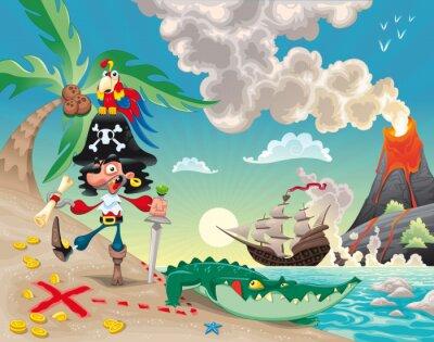 Pirat auf der Insel. Funny Cartoon und Vektor-Szene.