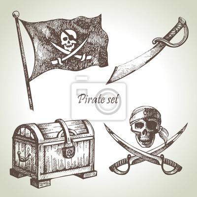Piraten setzen. Hand gezeichnete Illustrationen