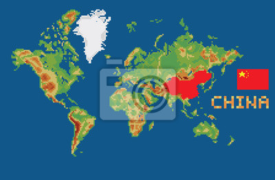 Bild: Pixel art style world map with shape china borders and flag