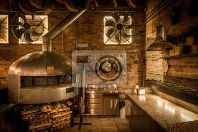 Pizza-ofen in offener küche italienisches restaurant leinwandbilder ...