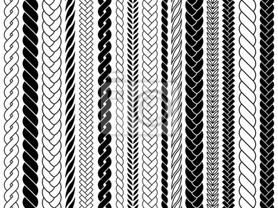 Bild Plaits and braids pattern brushes. Knitting, braided ropes vector isolated collection. Braid pattern decoration, fabric textile ornament illustration