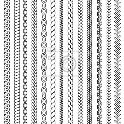 Bild Plaits and braids. Waves knitted drawing ornamental structures textile vector seamless collection. Pattern braid and thread, string plait illustration