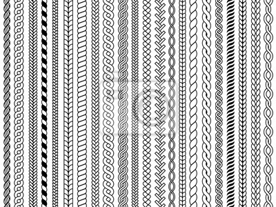 Bild Plaits pattern. Ornamental braids knitting cable fashion textile structures graphic vector seamless illustrations. Pattern cable and knitwear, plait and braid