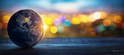 Bild Planet earth on the background of blurred lights of the city. Concept on business, politics, ecology and media.  Elements of this image furnished by NASA