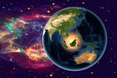 Bild Planet Earth on the background with stars and galaxies, the Earth from space showing Indonesia, Australia, India and Malaysia on globe in the night time, elements of this image furnished by NASA
