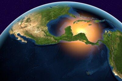 Bild Planet Erde, die Erde aus dem Weltraum, die Zentralamerika, Belize, Costa Rica, El Salvador, Guatemala, Honduras, Nicaragua, Panama auf Globus in der Tageszeit, Elemente dieses Bildes von der NASA ein