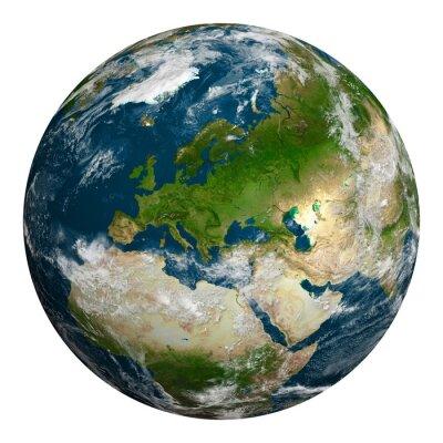Bild Planeten Erde mit Wolken. Europa, Teil von Afrika und Asien.