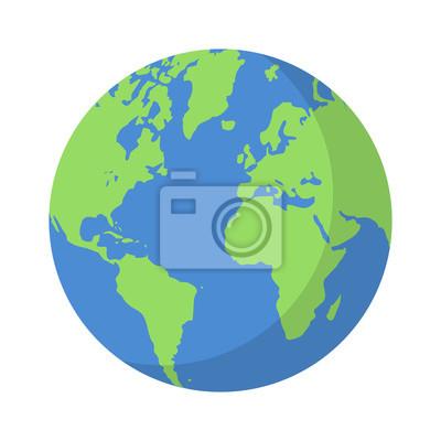 Bild Planeten Erde oder Weltkugel mit Ozeanen und Wasser flachen Vektor Farbe Symbol für Apps und Websites