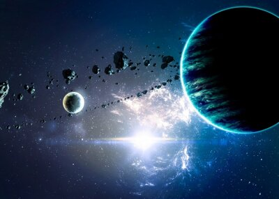 Bild Planets over the nebulae in space. Elements of this image