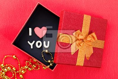 Plastilin brief, ich liebe dich, in geschenk-box und goldenen ...