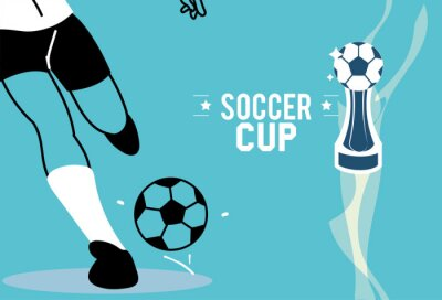 Player legs with ball and trophy vector design