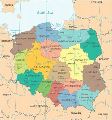 Polen Karte.Bild Polen Karte Detaillierte Vektor Illustration