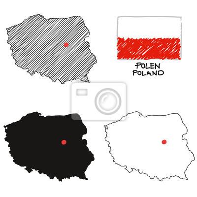 Polen Karte Umriss.Bild Polen Polen Landkarte Zeichnung Schrankt Umriss Mit Fahne