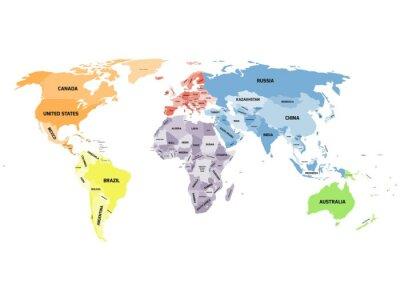 Bild Politische Weltkarte auf weißem Hintergrund.