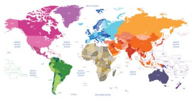 Bild Politische Weltkarte nach Kontinenten gefärbt