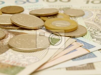 Polnische Zloty Währung Geld Banknoten Und Münzen Leinwandbilder