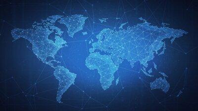 Bild Polygon-Weltkarte mit Blockchain-Technologie Peer-to-Peer-Netzwerk auf blauem Hintergrund. Netzwerk, P2P-Geschäft, E-Commerce, Bitcoin-Handel und globale Cryptocurrency Blockchain-Business-Banner-Konz