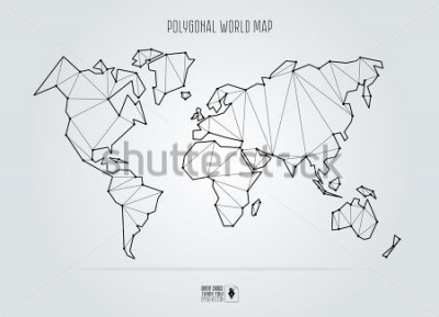 Bild Polygonal abstract world map. Vector illustration.