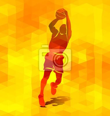 Polygonal Hintergrund mit einer Silhouette eines Basketball-Spieler. Abbildung